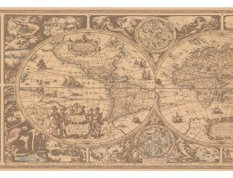 Prepasted Wallpaper Borders - Globe Wall Paper Border HU6084B