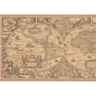 13 1/2 in x 15 ft Prepasted Wallpaper Borders - Globe Wall Paper Border HU6084B