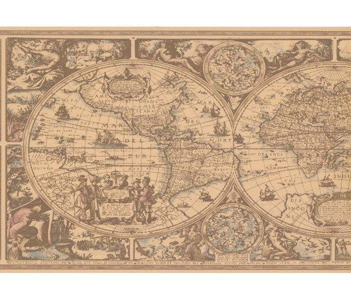 New  Arrivals Wall Borders: Globe Wallpaper Border HU6084B