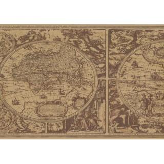 13 1/2 in x 15 ft Prepasted Wallpaper Borders - Globe Wall Paper Border HU6085B