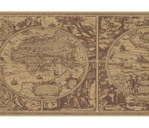 Prepasted Wallpaper Borders - Globe Wall Paper Border HU6085B