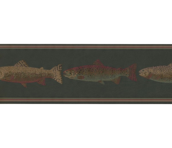 Prepasted Wallpaper Borders - Fishes Wall Paper Border HU6252B