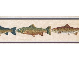 Prepasted Wallpaper Borders - Fishes Wall Paper Border HU6255B