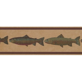 7 in x 15 ft Prepasted Wallpaper Borders - Fishes Wall Paper Border HU6256B