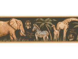 7 in x 15 ft Prepasted Wallpaper Borders - Jungle Animals Wall Paper Border HU6261B