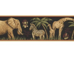 7 in x 15 ft Prepasted Wallpaper Borders - Jungle Animals Wall Paper Border HU6262B