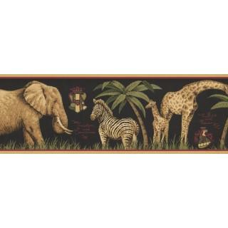 7 in x 15 ft Prepasted Wallpaper Borders - Jungle Animals Wall Paper Border HU6262B