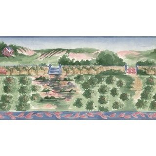 10 1/2 in x 15 ft Prepasted Wallpaper Borders - Country Wall Paper Border IG75150B