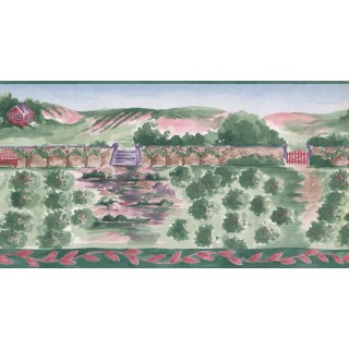 10 1/2 in x 15 ft Prepasted Wallpaper Borders - Country Wall Paper Border IG75151B