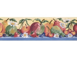 5.87 in x 15 ft Prepasted Wallpaper Borders - Fruits Wall Paper Border IG75159B