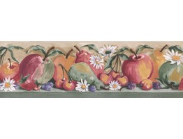 5.87 in x 15 ft Prepasted Wallpaper Borders - Fruits Wall Paper Border IG75162B
