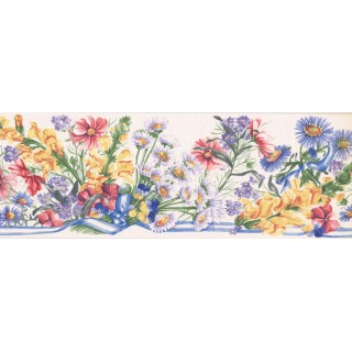 7 in x 15 ft Prepasted Wallpaper Borders - Floral Wall Paper Border IG75163B