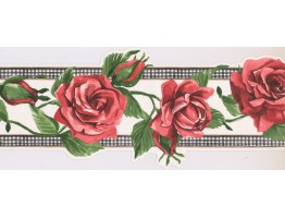 Prepasted Wallpaper Borders - Rose Flower Wall Paper Border IG75172B