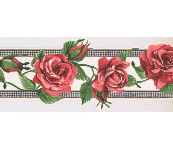 Prepasted Wallpaper Borders - Rose Flower Wall Paper Border IG75172B