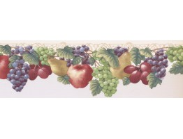6.375 in x 15 ft Prepasted Wallpaper Borders - Fruits Wall Paper Border JK72471DL