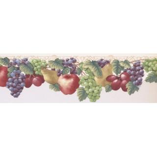 6.375 in x 15 ft Prepasted Wallpaper Borders - Fruits Wall Paper Border JK72471DL