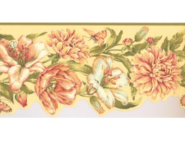 Prepasted Wallpaper Borders - Floral Wall Paper Border JT7505B