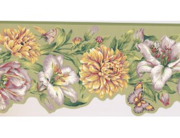 Prepasted Wallpaper Borders - Floral Wall Paper Border JT7506B