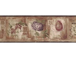 7 in x 15 ft Prepasted Wallpaper Borders - Floral Wall Paper Border KA75868