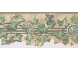 9 in x 15 ft Prepasted Wallpaper Borders - Leaves Wall Paper Border KA75870DC