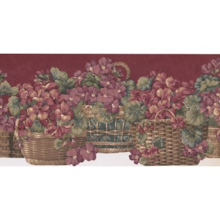 10 in x 15 ft Prepasted Wallpaper Borders - Floral Wall Paper Border KB103001