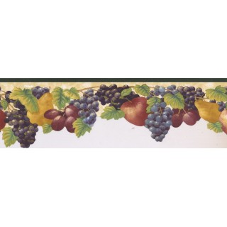 6.375 in x 15 ft Prepasted Wallpaper Borders - Fruits Wall Paper Border KB73480DC