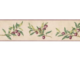 5 1/4 in x 15 ft Prepasted Wallpaper Borders - Fruits Wall Paper Border KC78043