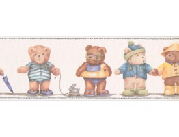 Prepasted Wallpaper Borders - Teddy Bear Wall Paper Border KD0418B
