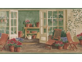 Prepasted Wallpaper Borders - Garden Wall Paper Border KE30063B