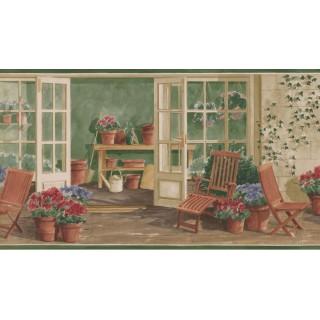 10 1/4 in x 15 ft Prepasted Wallpaper Borders - Garden Wall Paper Border KE30063B