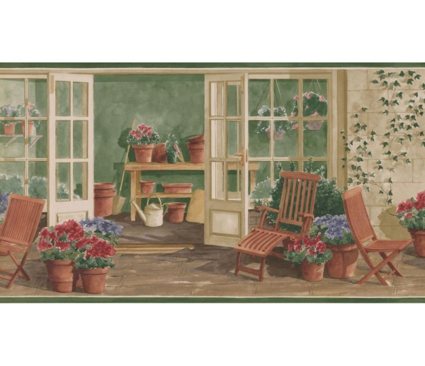 New  Arrivals Wall Borders: Garden Wallpaper Border KE30063B