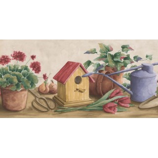 9 1/2 in x 15 ft Prepasted Wallpaper Borders - Garden Wall Paper Border KE30067B