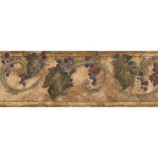 7 in x 15 ft Prepasted Wallpaper Borders - Grapes Wall Paper Border KF76659