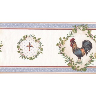 10 1/4 in x 15 ft Prepasted Wallpaper Borders - Roosters Wall Paper Border KH5920B