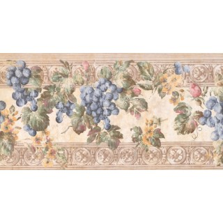 10 1/4 in x 15 ft Prepasted Wallpaper Borders - Fruits Wall Paper Border KH6001B