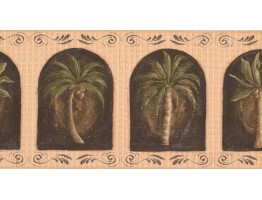 Prepasted Wallpaper Borders - Palm Tree Wall Paper Border KM7700B