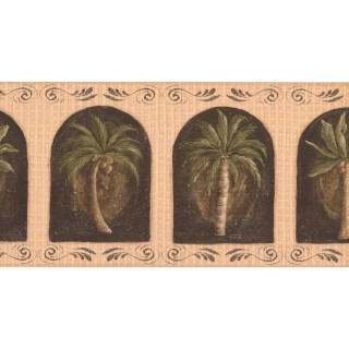 10 1/4 in x 15 ft Prepasted Wallpaper Borders - Palm Tree Wall Paper Border KM7700B