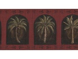 Prepasted Wallpaper Borders - Palm Tree Wall Paper Border KM7702B