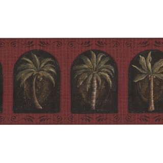 10 1/4 in x 15 ft Prepasted Wallpaper Borders - Palm Tree Wall Paper Border KM7702B