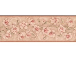 7 in x 15 ft Prepasted Wallpaper Borders - Floral Wall Paper Border KM7777B