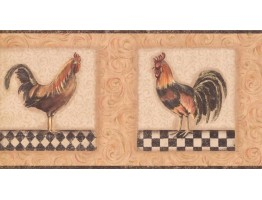 Prepasted Wallpaper Borders - Roosters Wall Paper Border KM7816B