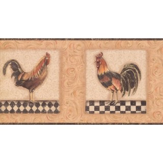 10 1/4 in x 15 ft Prepasted Wallpaper Borders - Roosters Wall Paper Border KM7816B