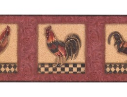 Prepasted Wallpaper Borders - Roosters Wall Paper Border KM7817B