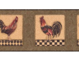 Prepasted Wallpaper Borders - Roosters Wall Paper Border KM7818B