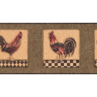 10 1/4 in x 15 ft Prepasted Wallpaper Borders - Roosters Wall Paper Border KM7818B