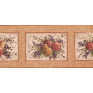 9 in x 15 ft Prepasted Wallpaper Borders - Fruits Wall Paper Border KM7866B