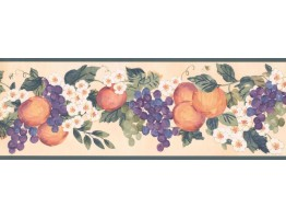 7 in x 15 ft Prepasted Wallpaper Borders - Fruits Wall Paper Border KR2257B