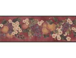 7 in x 15 ft Prepasted Wallpaper Borders - Fruits Wall Paper Border KR2259B
