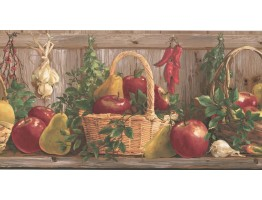 Prepasted Wallpaper Borders - Kitchen Wall Paper Border KR2325B