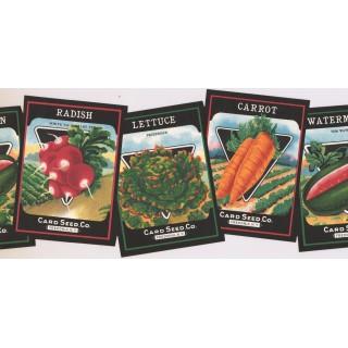 9 1/4 in x 15 ft Prepasted Wallpaper Borders - Vegetables Wall Paper Border KR2453B